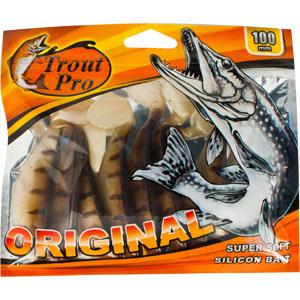 Риппер Trout Pro Original, длина 10 см, 10 шт. 3529410948Приманка предназначена для джиговой ловли хищной рыбы: окуня, судака, щуки. Специальная пластина придает приманке колебательные движения, усиливая ее сходство с живой рыбкой. Характеристики:Длина: 10 см. Цвет тела:144 (светло-коричневый с темными полосками). Материал: эластичный полимер. Размер упаковки: 16,8 см х 14,2 см х 0,9 см. Производитель: Китай. Артикул: 35294.