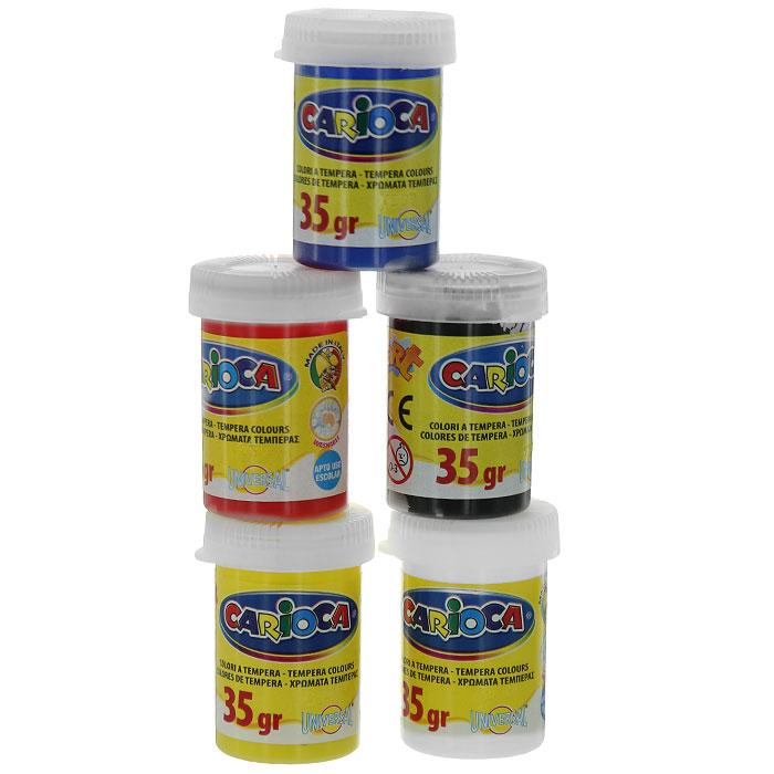 Набор темперных красок Carioca, с кистью, 5 цветовKO033Темперные краски Carioca необыкновенно яркие, отличаются очень высокой передачей цвета, приятные в работе, пластичные, прекрасно ложатся на бумагу и смешиваются между собой. При высыхании не размазываются при соприкосновении с водой. Прекрасно подходят для детского творчества. В наборе краски красного, черного, белого, синего и желтого цветов и кисточка. Характеристики: Материал: пластик. Масса баночки с краской: 35 г. Длина кисточки: 16 см. Размер упаковки : 23 см х 20 см х 2,5 см.