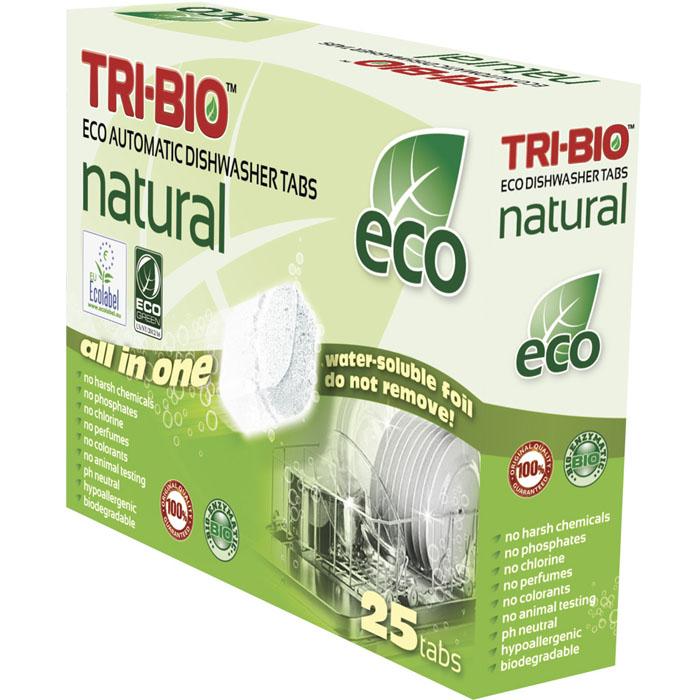 Натуральные эко-таблетки Tri-Bio для посудомоечных машин, 500 г, 25 штSS 4041Эко-таблетки Tri-Bio - экологическая формула, основана на био-энзимах и натуральных растительных и минеральных компонентах. Не содержат опасных химических веществ, но также эффективна как широко известные жесткие химические моющие средства. Быстро и легко растворяет жиры и удаляет засохшую грязь, оставляя вашу посуду кристально чистой. Не оставляет ужасных химических запахов и остатки моющего средства, на вашей посуде и посудомоечной машине. Не содержит ароматов и красителей, рекомендуется для людей, склонных к аллергическим реакциям и страдающих астмой. Легкие и безопасные в использовании, упакованы в водорастворимую пленку. Для здоровья: Без фосфатов, растворителей, хлора отбеливающих веществ, абразивных веществ, отдушек, красителей, токсичных веществ, нейтральный pH, гипоаллергенно. Присвоены сертификаты EU Ecolabel и ECO GREEN. Для окружающей среды: Низкий уровень ЛОС, биоразлагаем, минимальное влияние на водные организмы. Особо рекомендуется использовать в домах с автономной канализацией. Применение: Ополосните сильно загрязненную посуду. Не удаляйте водорастворимую плёнку! Поместитe таблетку в дозировочный отсек, и запустите вашу обычную программу. В регионах с высокой жесткостью воды, для максимального результата, используйте дополнительно ополаскиватель и специальную соль. Характеристики:Комплектация: 25 шт. Общий вес: 500 г. Вес одной таблетки: 20 г. Состав: Sodium carbonate (органический, сода), Sodium citrade (органический, соль), Sodium percarbonate (отбеливатель на кислородной основе), Acrylamide-sodium acrylate copolymer (поликарбоксилат), N,N-ethylenebis[N-acetylacetamide (отбеливатель на кислородной основе), Isotridecanol, ethoxylated (органический, из кокосового масла, пальмового масла или сои), Polyethylene glycol, Sodium silicate, Glycerol, Rapsoel (рапсовое масло), Protease and Amylase (ферменты) Размер упаковки: 19,5 см х 5,5 см х 14,5 см. Артикул: 0170.
