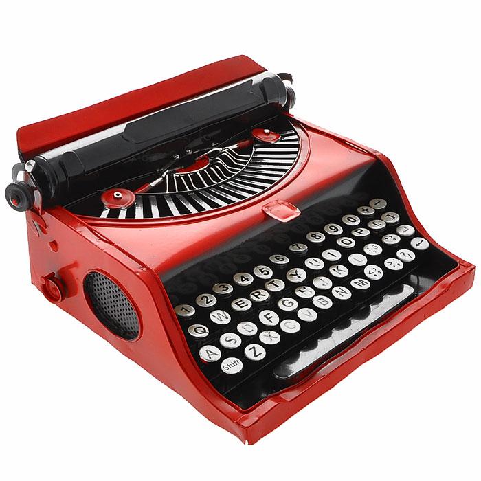Декоративная модель печатной машинки, цвет: красный, черный. 2402224022Декоративная модель выполнена из металла в виде печатной машинки. Модель станет оригинальным украшением интерьера. Вы можете поставить модель в любом месте, где она будет удачно смотреться и радовать глаз. Также модель отлично подойдет в качестве стильного подарка близким и друзьям.