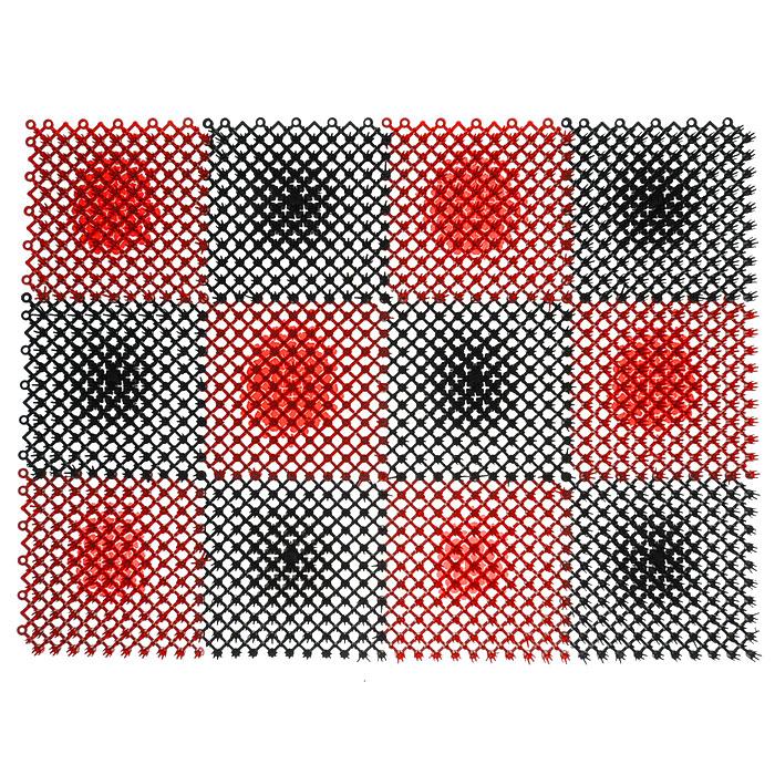 Коврик Травка, цвет: черный, красный, 42 см х 56 см23006Коврик Травка выполнен из полиэтилена и состоит из 12 секций. Коврик предназначен для защиты помещений от уличной грязи. При этом сам коврик всегда сохраняет эстетичный и опрятный вид, сколько бы пыли и грязи на нем не было.