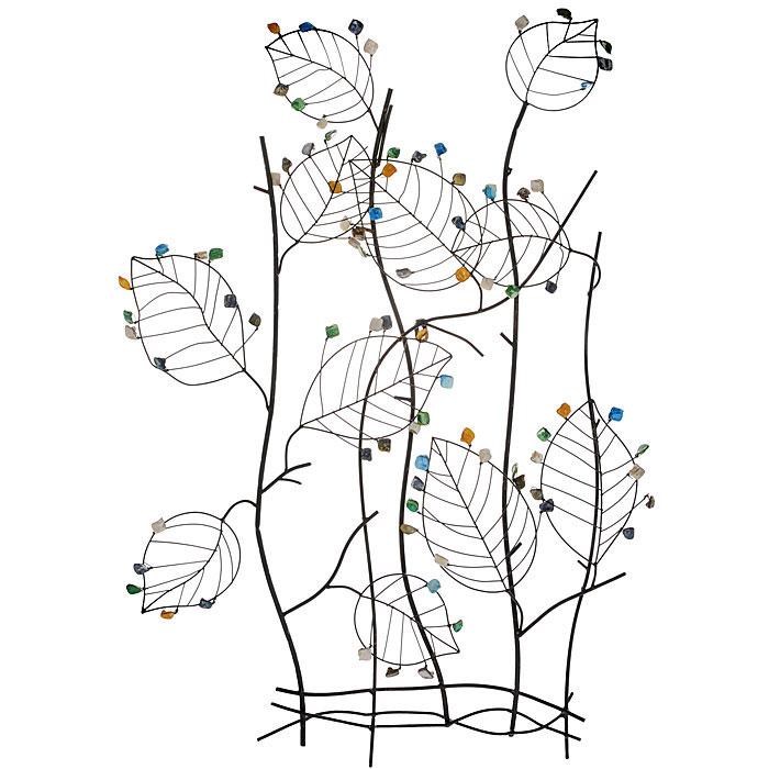 Декоративное настенное украшение Листья19161Декоративное настенное украшение Листья, выполненное из черного окрашенного металла и полирезины, позволит вам украсить интерьер дома, рабочего кабинета или любого другого помещения оригинальным образом. Украшение выполнено в виде куста с листочками и с разноцветными камнями. С таким украшением вы сможете внести в интерьер своего дома элемент необычности. Характеристики: Материал: металл, полирезин. Размер: 66 см x 8 см x 91,5 см. Размер упаковки: 70 см х 10 см х 98 см. Артикул: 19161.