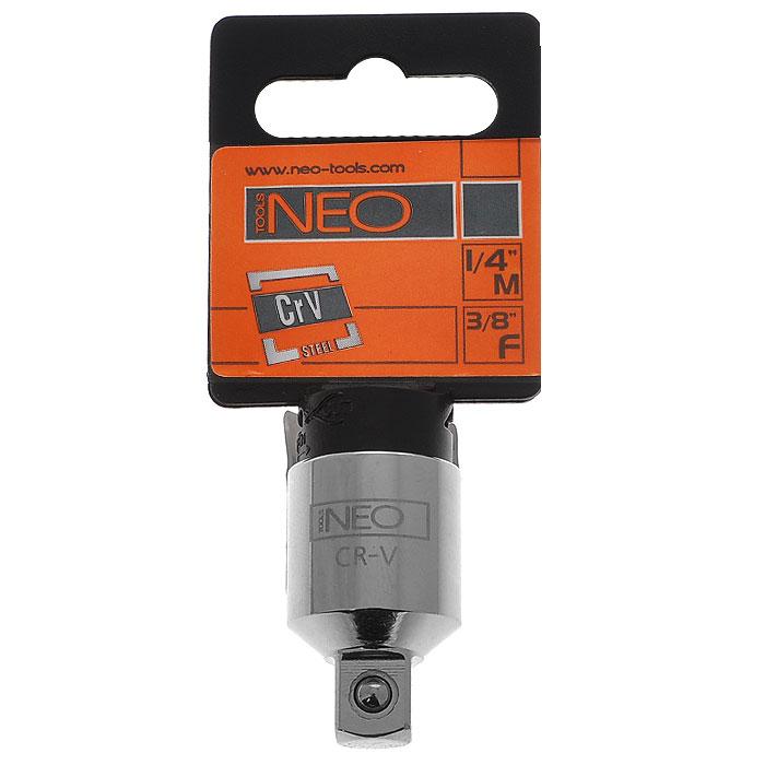 Переходник Neo с 3/8 на 1/408-562Переходник Neo предназначен для установки на трещотку более меньших/больших головок по размеру. Характеристики: Материал: хром-ванадий. Длина переходника: 2,5 см. Размер переходника: с 3/8 на 1/4. Размер упаковки: 8,5 см х 4,5 см х 1,5 см.