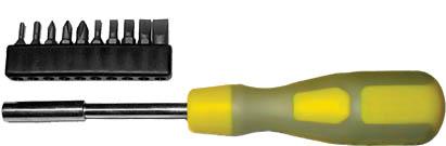 Отвертка с битами FIT, 11 шт56255Отвертка с битами Fit предназначена для монтажа/демонтажа резьбовых соединений с применением значительных усилий. Пластмассовая рукоятка устойчива к различным смазочным материалам. Имеет магнитный наконечник. В состав набора входят Отвертка для бит. Биты шлицевые: SL3, SL4, SL5, SL6, SL8. Биты крестовые: PH0, PH1, PH2. Биты шестиуголные: Т10, Т20. Характеристики: Материал: пластик, металл. Длина отвертки: 9 см. Длина ручки: 11 см. Размеры упаковки: 26 см х 9 см х 3 см.
