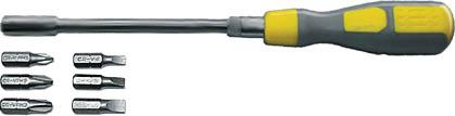 Отвертка с гибким жалом FIT, 6 бит CrV56330Отвертка FIT с гибким жалом из инструментальной стали и набором бит предназначена для монтажа и демонтажа резьбовых соединений в труднодоступных местах. Имеет магнитный фиксатор, для быстрой смены бит. Характеристики: Материал: пластик, металл, резина. Размер отвертки: 3 см х 3 см х 25,5 см. Размер упаковки: 10,5 см x 3 см x 33 см.