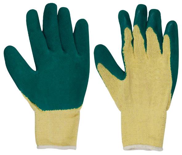 Перчатки вязаные х/б c заливкой наладонника, цвет: желтый, зеленый. Размер 912475Перчатки вязаные х/б c заливкой наладонника предназначены для строительных и погрузочно-разгрузочных работ. Изготовлены из 100% хлопка, что обеспечивает естественный воздухообмен. Ладонная часть усилена слоем латекса увеличенной толщины для дополнительной защиты рук, а рельефная поверхность увеличивает сцепные свойства и позволяет крепко удерживать инструмент и различные предметы во время работы. Перчатки устойчивы к истиранию и имеют долгий срок эксплуатации. Характеристики: Материал: ткань, резина. Размеры перчаток: 25 см x 9,5 см x 1,5 см. Размер упаковки: 25 см x 9,5 см x 1,5 см. Размер: 9. Комплектация: 1 пара.