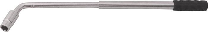 Ключ баллонный КонтрФорс, телескопический, Г-образный, 17 мм х 19 мм132030Телескопический баллонный ключ КонтрФор выполнен из высококачественной инструментальной стали. Антикоррозийное хромированное покрытие. Телескопическая ручка с удобным механизмом фиксации позволяет создавать рычаг до 53 см, обеспечивая максимальное удобство эксплуатации ключа. В комплект входит универсальная съемная двусторонняя головка 17 мм х 19 мм, подходящая для большинства типов колес. Ключ подходит для работы с алюминиевыми автомобильными дисками. Характеристики: Материал: металл, пластик. Длина ключа: 36 см. Размер упаковки: 42 см х 14 см х 3 см.