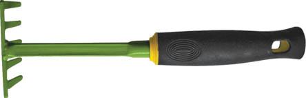Грабли FIT мини, 290 мм. 7702577025Грабли FIT мини идеально подходят для работы на садовом участке. Инструмент выполнен из высокопрочной углеродистой стали с напылением из ПВХ, а рукоятка прорезинена для комфорта при работе. Грабли имеют небольшие габариты, что позволяет работать в труднодоступных местах, например между растениями или под кустами. Характеристики: Материал: сталь, резина. Размеры граблей: 29 см x 9 см x 7 см. Размер упаковки: 29 см x 9 см x 7 см.