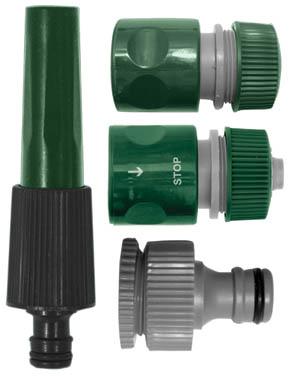 Набор для полива FIT, 4 шт. 7729177291Поливочный набор FIT используется для полива и орошения. Насадка для полива обеспечивает точную работу, благодаря узкому носику. Внешний адаптер используется для монтажа соединителя с водопроводной трубой или же краном, который оснащен внешней резьбой. Соединители применяются для герметичного соединения двух труб или шлангов. Соединитель с функцией автостоп прекращает подачу воды при отсоединении насадки, что позволяет избежать лишнего расхода воды. Входящие в набор приспособления выполнены из пластика ABS, который отличается своими высокими эксплуатационными свойствами, не подвергается химическим и механическим воздействиям. С помощью набора можно быстро и без лишних усилий создать необходимую магистраль. В набор входит: насадка для полива, соединитель, соединитель с автостопом, адаптер внешний. Набор поливочный рассчитан на соединение диаметром 1/2. Характеристики: Материал: ABS пластик. Размеры насадки: 13,5 см x 3,5 см x 3,5 см. Размеры соединителя: 5,5 см x...