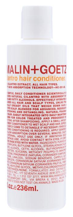 Malin+Goetz Кондиционер Кориандр, для всех типов волос, 236 млMG044Мягкий кондиционер Malin+Goetz Кориандр подходит для ежедневного использования содержит экстракт кориандра, питательные жирные кислоты и жирные спирты. Инновационная формула ухаживает за волосами, не оседает на волосах, бережно распутывает, увлажняет и поддерживает баланс всех типов волос и кожи головы, не вызывая утяжеления волос и раздражения кожи. Является отличным дополнением к ежедневному уходу за окрашенными и химически обработанными волосами. Не содержит хлорид натрия и подходит для химически выпрямленных волос. Имеет натуральный аромат и цвет. Характеристики: Объем: 236 мл. Производитель: США. Товар сертифицирован.