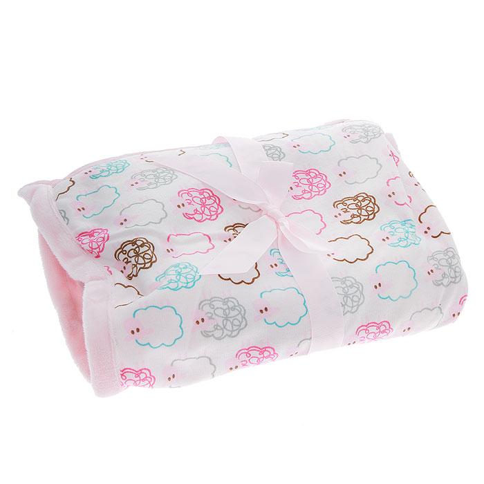 """Hudson Baby Плед детский """"Овечки"""", цвет: розовый, 76 см х 101 см 50440_розовый"""