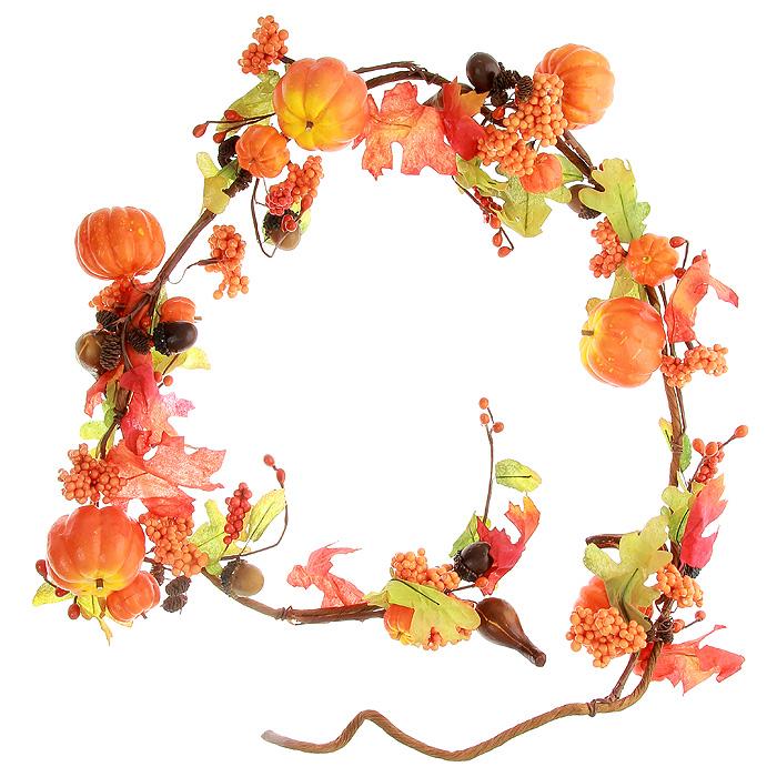 Гирлянда декоративная Тыквочки, длина 170 см5250011Декоративная гирлянда Тыквочки выполнена из ПВХ, пластика и металла. Она представляет собой композицию из тыкв, желудей, ягод, шишек и дубовых листьев. Декоративная гирлянда дополнит интерьер любого помещения, а также может стать оригинальным подарком для ваших друзей и близких.