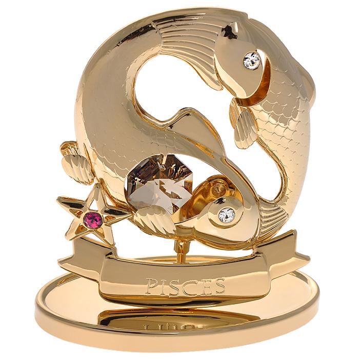 Фигурка декоративная Знак зодиака Рыбы, цвет: золотистый67239Декоративная фигурка Знак зодиака Рыбы, золотистого цвета, станет необычным аксессуаром для вашего интерьера и создаст незабываемую атмосферу. Кристаллы, украшающие фигурку, носят громкое имя Swarovski. Ограненные, как бриллианты, кристаллы блистают сотнями тысяч различных оттенков. Эта очаровательная вещь послужит отличным подарком близкому человеку, родственнику или другу, а также подарит приятные мгновения и окунет вас в лучшие воспоминания. Фигурка упакована в подарочную коробку.