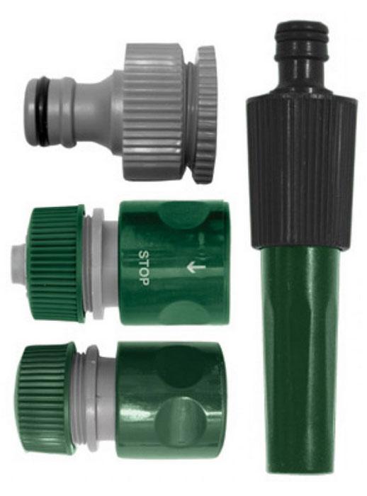 Набор поливочный 4шт. 3/4 (насадка для полива,соединитель, соединитель с автостопом, адаптер внешни77292Набор поливочный 4?шт. (насадка для полива, соединитель, соединитель с автостопом, адаптер внешний). Материал: ABS пластик.