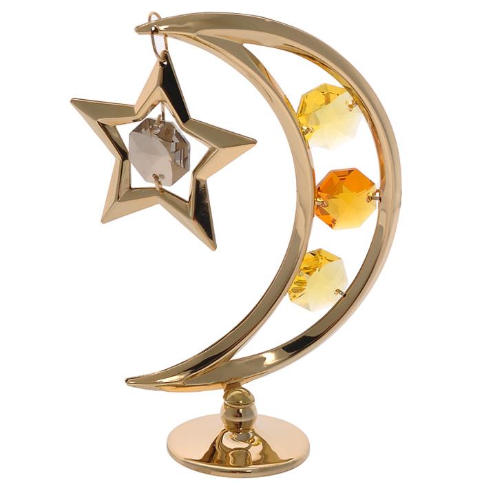 Фигурка декоративная Месяц, цвет: золотистый67435Декоративная фигурка Месяц, золотистого цвета, станет необычным аксессуаром для вашего интерьера и создаст незабываемую атмосферу. Фигурка выполнена в виде месяца на подставке с подвеской-звездой и инкрустирована желтыми кристаллами. Кристаллы, украшающие фигурку, носят громкое имя Swarovski. Ограненные, как бриллианты, кристаллы блистают сотнями тысяч различных оттенков. Эта очаровательная фигурка послужит отличным функциональным подарком, а также подарит приятные мгновения и окунет вас в лучшие воспоминания. Фигурка упакована в подарочную коробку.