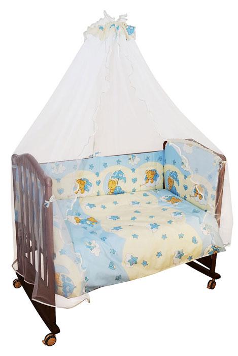 Комплект в кроватку Мишкин сон, цвет: голубой, 7 предметов10503Комплект в кроватку Мишкин сон прекрасно подойдет для кроватки вашего малыша, добавит комнате уюта и согреет в прохладные дни. В качестве материала верха использован натуральный хлопок, мягкая ткань не раздражает чувствительную и нежную кожу ребенка и хорошо вентилируется. Бампер, подушка и одеяло наполнены холлконом - экологически безопасным гипоаллергенным синтетическим материалом, обладающим высокими теплозащитными свойствами. Элементы комплекта оформлены изображениями симпатичных медвежат.Комплект состоит из: бампера с несъемными чехлами,балдахина с сеткой,подушки с клапаном,одеяла,пододеяльника,наволочки,простыни.Для производства изделий Сонный гномик используются только высококачественные ткани ведущих мировых производителей. Благодаря особым технологиям сбора и переработки хлопка сохраняется естественная природная структура волокна. Характеристики:Материал: бязь, 100% хлопок. Наполнитель бампера ,подушки и одеяла: холлкон. Материал балдахина: сетка. Размер одеяла: 140 см х 110 см. Размер бампера: 360 см х 38 см. Размер балдахина: 450 см х 170 см. Размер подушки: 60 см х 40 см. Размер пододеяльника: 144 см х 108 см. Размер наволочки: 60 см х 40 см. Размер простыни: 140 см х 100 см.