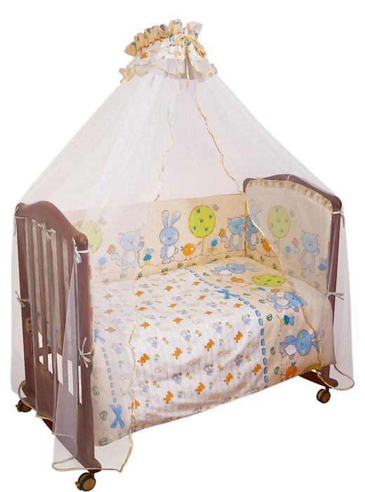 Комплект в кроватку Акварель, цвет: бежевый, голубой, 7 предметов706Комплект в кроватку Акварель прекрасно подойдет для кроватки вашего малыша, добавит комнате уюта и согреет в прохладные дни. В качестве материала верха использован натуральный хлопок, мягкая ткань не раздражает чувствительную и нежную кожу ребенка и хорошо вентилируется. Наполнение одеяла и подушки из файберпласта - легкого синтетического абсолютно безопасного материала, благодаря которому они экологичны, гипоаллергенны, не деформируются и хорошо держат тепло. Бампер наполнен холлконом - экологически безопасным гипоаллергенным синтетическим материалом, обладающим высокими теплозащитными свойствами. Элементы комплекта оформлены крупным забавным рисунком с изображением котика, зайчика и птички. Комплект состоит из: бампера со съемными чехлами, балдахина с сеткой, подушки с клапаном, одеяла, пододеяльника, наволочки, простыни. Для производства изделий Сонный гномик используются только...