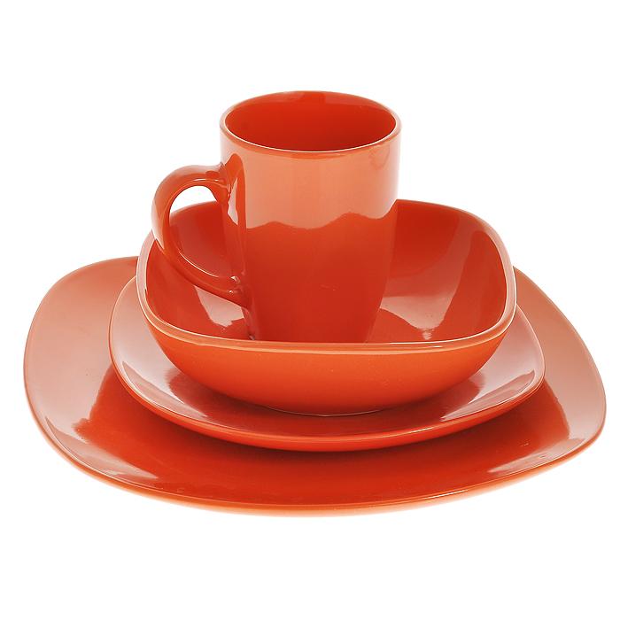 Набор столовый Besko, цвет: оранжевый, 4 предмета555-041Столовый набор Besko состоит из мелкой тарелки, десертной тарелки, миски и кружки. Предметы наборы выполнены из высококачественной керамики оранжевого цвета. Стильный дизайн и оригинальное исполнение понравится любой хозяйке и украсит ваш обеденный стол. Характеристики: Материал: керамика. Цвет: оранжевый. Размер миски: 14 см. Размер десертной тарелки: 19,5 см х 19,5 см х 2 см. Размер мелкой тарелки: 26 см х 26 см х 2,5 см. Диаметр кружки по верхнему краю: 8 см. Высота кружки: 10,5 см. Размеры упаковки: 26 см х 26 см х 10 см. Артикул: 555-041.