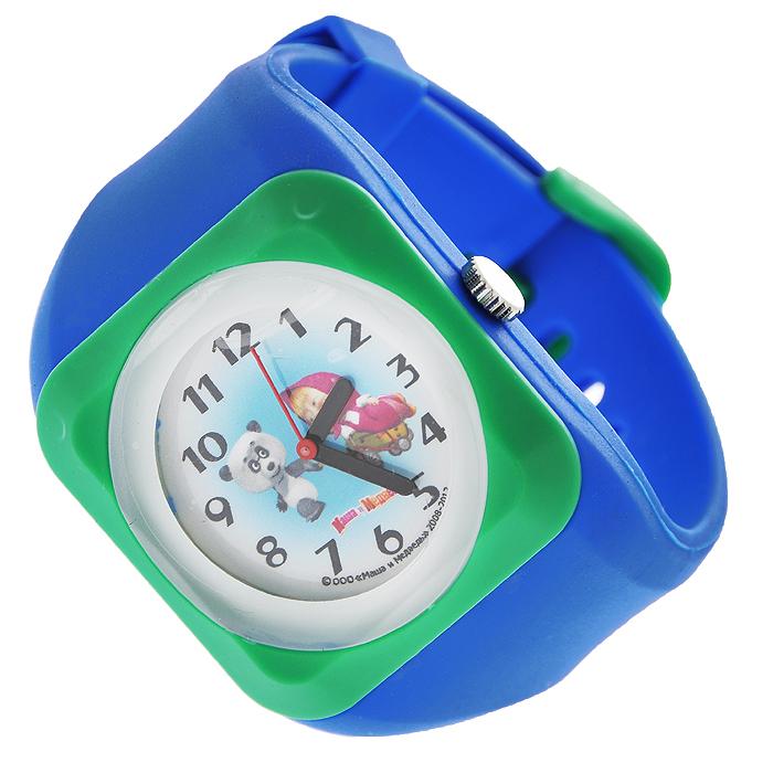 """Часы наручные """"Маша и медведь"""", кварцевые, цвет: синий, зеленый 331344"""