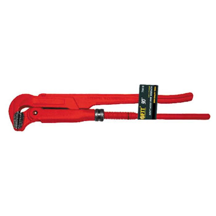 Ключ трубный FIT, 90°, 1,570445Ключ трубный FIT используется для монтажа и демонтажа у трубных резьбовых соединений. Ключ эффективен в работе благодаря его специальной усиленной конструкции. Специально разработанный угол наклона зубцов позволяет выполнить максимально возможное усилие захвата. Характеристики: Материал: хром-ванадиевая сталь. Длина ключа: 41 см. Максимальное ширина захвата: 6 см. Угол наклона: 90°. Размеры упаковки: 41 см 6 см х 2 см.