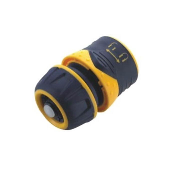 Соединитель для шлангов FIT с автостопом, 1/2, цвет: черный, оранжевый. 7743377433Пластиковый соединитель FIT применяется для быстрого и надежного соединения шланга 1/2. С любой насадкой поливочной системы. Совместим со всеми элементами аналогичной поливочной системы. Встроенный клапан автостопа перекрывает поток воды при снятии распылителя. Характеристики: Материал: ABS пластик, резина. Размер соединителя: 4 см х 6 см х 4 см. Размер упаковки: 12 см x 9 см x 4,5 см.