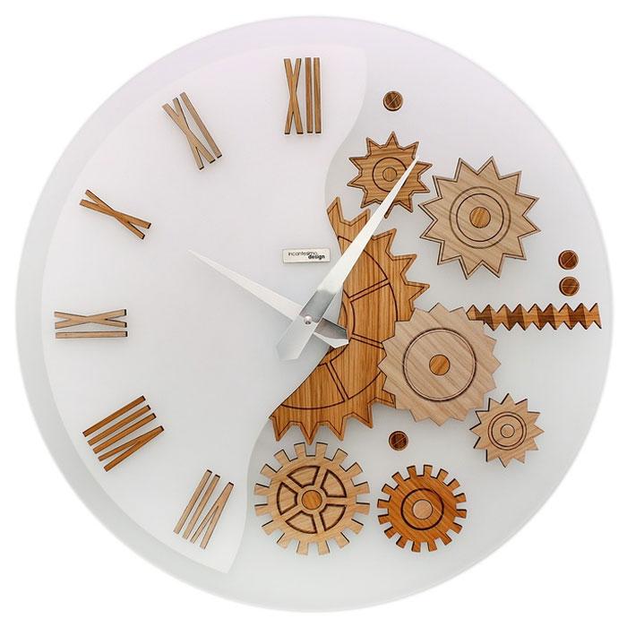 Часы настенные MeKKanico, кварцевые, цвет: белый, бежевый. 654291300194_сиреневый/грушаОригинальные настенные часы MeKKanico выполнены из синтетического матового стекла в круглом корпусе. Циферблат оформлен римскими цифрами, элементами в виде шестеренок, стилизованных под дерево и двумя стрелками часовой и минутной, выполненных из металла. На задней стенке расположены металлическая петелька для подвешивания и блок с часовым механизмом.Необычное дизайнерское решение и качество исполнения придутся по вкусу каждому. Оформите совой дом таким интерьерным аксессуаром или преподнесите его в качестве презента друзьям, и они оценят ваш оригинальный вкус и неординарность подарка. Характеристики:Материал: синтетическое матовое стекло, пластик, металл. Тип механизма:тикающий. Диаметр часов:45 см. Размер упаковки:47 см х 46 см х 5 см. Артикул: 654291. Рекомендуется докупить батарейку типа АА (не входит в комплект).