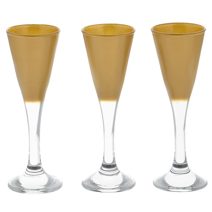 Набор фужеров Workshop Joy, цвет: золотистый, 45 мл, 3 шт44103GL/Набор Workshop Joy, выполненный из стекла золотистого цвета, состоит из 3 изящных фужеров на ножках, которые излучают приятный блеск и издают мелодичный хрустальный звон. Фужеры идеально подойдут для сервировки стола и станут отличным подарком к любому празднику. Характеристики: Материал: натрий-кальций-силикатное стекло. Внутренний диаметр по верхнему краю: 5 см. Высота: 14 см. Диаметр по нижнему краю: 5 см. Объем: 45 мл. Комплектация: 3 шт. Размер упаковки (Д х Ш х В): 20 см х 5 см х 14 см. Артикул: 44103GL/.