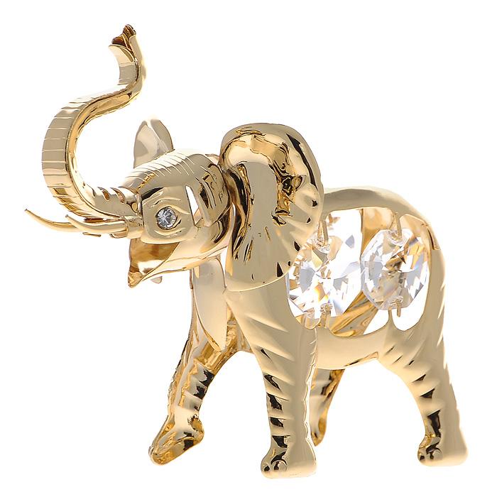 Сувенир Слон, цвет: золотистый. 424921424921Сувенир Слон выполнен из позолоченного металла и украшен белыми кристаллами Swarovski. Поставьте фигурку на стол в офисе или дома и наслаждайтесь изящными формами и блеском кристаллов. Изысканный и эффектный, этот сувенир покорит своей красотой и изумительным качеством исполнения, а также станет замечательным и оригинальным подарком. Характеристики: Материал: металл, кристаллы Swarovski. Размер сувенира: 9 см х 3 см х 7 см. Цвет: золотистый. Размер упаковки: 6 см х 6 см х 9 см. Артикул: 424921.