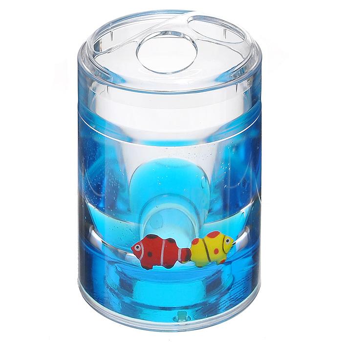 Стаканчик для зубных щеток Рыбки860-31Стаканчик для зубных щеток Рыбки, изготовленный из прозрачного пластика, отлично подойдет для вашей ванной комнаты. Внутри стакана синий гелиевый наполнитель с рыбками красного и желтого цветов. Стаканчик для зубных щеток создаст особую атмосферу уюта и максимального комфорта в ванной.