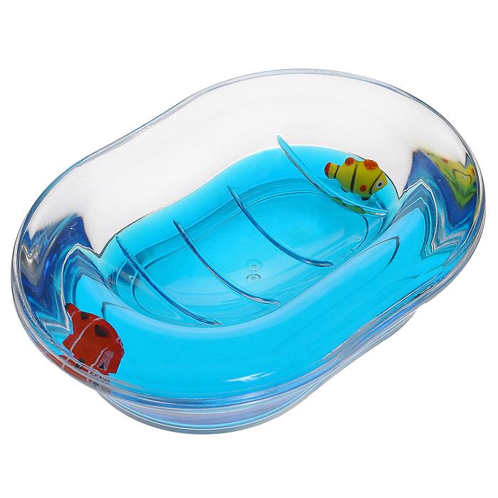 Мыльница Рыбки, цвет: синий880-31Оригинальная мыльница Рыбки, изготовленная из прозрачного пластика, отлично подойдет для вашей ванной комнаты. Внутри мыльницы синий гелевый наполнитель с рыбками красного и желтого цвета. Такая мыльница создаст особую атмосферу уюта и максимального комфорта в ванной. Характеристики: Материал: пластик, акрил, гелевый наполнитель. Цвет: синий, желтый, красный. Размер мыльницы: 13,5 см х 10 см х 3,5 см. Производитель: Швеция. Изготовитель: Китай. Размер упаковки: 14 см х 10,5 см х 4,5 см. Артикул: 880-31.