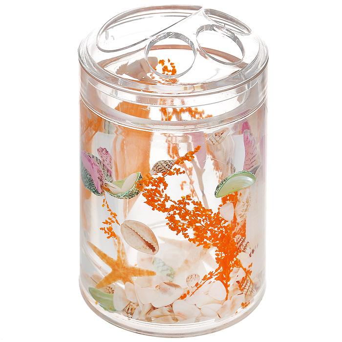 Стаканчик для зубных щеток Морское дно339-02Стаканчик для зубных щеток Морское дно, изготовленный из прозрачного пластика, отлично подойдет для вашей ванной комнаты. Внутри стакана прозрачный гелевый наполнитель с морскими звездами, ракушками и веточками. Стаканчик создаст особую атмосферу уюта и максимального комфорта в ванной.