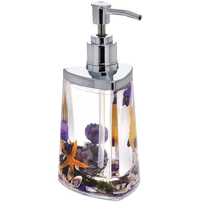 Дозатор для жидкого мыла Violet877-46Дозатор для жидкого мыла Violet, изготовленный из прозрачного пластика, отлично подойдет для вашей ванной комнаты. Дозатор имеет двойные стенки, между которыми находится прозрачный гелевый наполнитель с разноцветными ракушками, морской звездой и веточкой. Такой аксессуар очень удобен в использовании, достаточно лишь перелить жидкое мыло в дозатор, а когда необходимо использование мыла, легким нажатием выдавить нужное количество. Дозатор для жидкого мыла Violet создаст особую атмосферу уюта и максимального комфорта в ванной. Характеристики: Материал: пластик, акрил, гелевый наполнитель. Цвет: фиолетовый, оранжевый, зеленый, белый. Размер дозатора: 7,5 см х 7,5 см х 17 см. Производитель: Швеция. Изготовитель: Китай. Размер упаковки: 8,5 см х 8,5 см х 17,5 см. Артикул: 877-46.