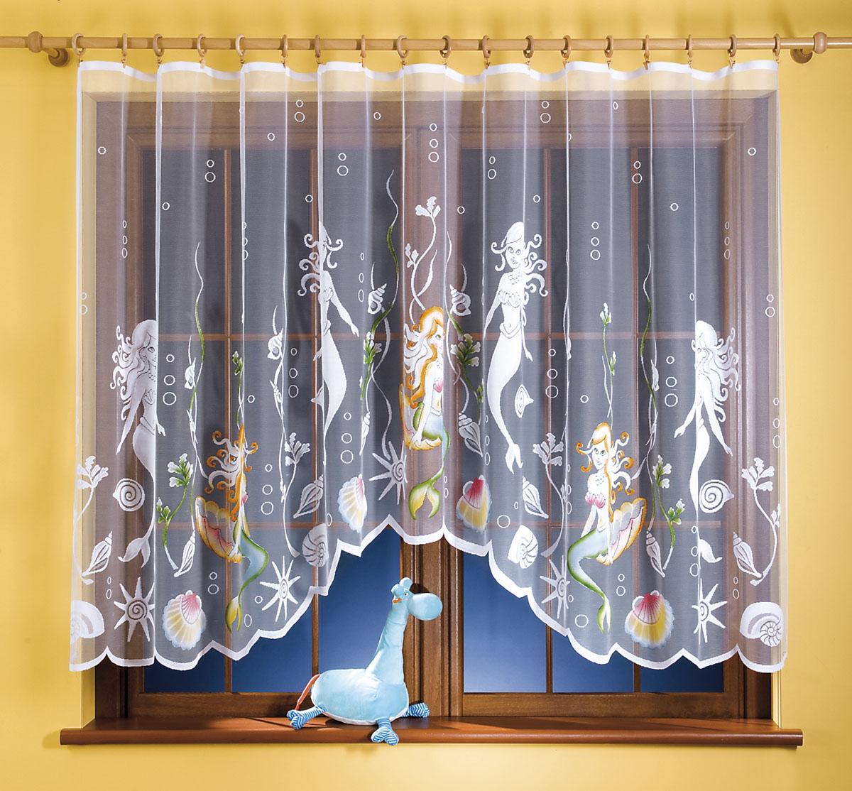 Гардина Syrenka, цвет: белый, высота 150 см662036Гардина Syrenka станет великолепным украшением любого окна. Гардина выполнена из легкого полиэстера белого цвета и оформлена изображением русалок. Тонкое плетение, оригинальный дизайн и нежная цветовая гамма привлекут внимание и украсят интерьер помещения. Гардина крепится к карнизу только с помощью зажимов (в комплект не входят). Характеристики: Материал: 100% полиэстер. Цвет: белый. Размер упаковки: 27 см х 35 см х 3 см. Артикул: 662036. В комплект входит: Гардина - 1 шт. Размер (ШхВ): 300 см х 150 см. Фирма Wisan на польском рынке существует уже более пятидесяти лет и является одной из лучших польских фабрик по производству штор и тканей. Ассортимент фирмы представлен готовыми комплектами штор для гостиной, детской, кухни, а также текстилем для кухни (скатерти, салфетки, дорожки, кухонные занавески). Модельный ряд отличает оригинальный дизайн, высокое качество. Ассортимент продукции постоянно пополняется.