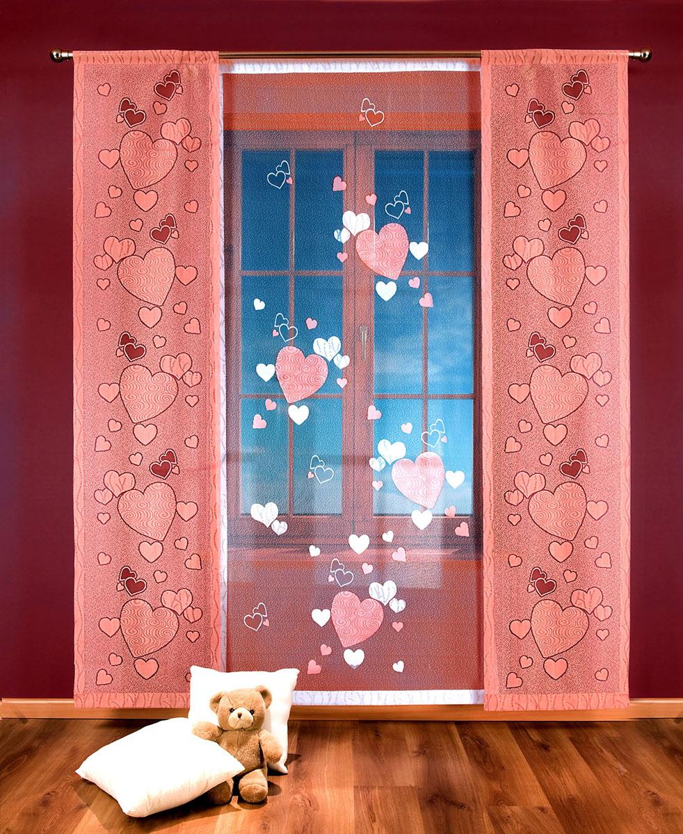 Гардина-панно Сердечки, на кулиске, цвет: белый, розовый, высота 250 см706761Гардина-панно Сердечки, изготовленная из полиэстера, станет великолепным украшением любого окна. Это отличное решение как для портьеры в дверной проем или просто занавески для разграничения пространства в комнате. Гардина включает в себя одно широкое полотно белого цвета и два небольших полотна розового цвета. Тонкое плетение и рисунок в виде сердечек привлекут к себе внимание и органично впишутся в интерьер комнаты. Гардина оснащена кулиской для крепления на круглый карниз. Характеристики: Материал: 100% полиэстер. Цвет: белый, розовый. Высота кулиски: 8,5 см. Размер упаковки: 27 см х 36 см х 4 см. Артикул: 706761. В комплект входит: Гардина-панно - 1 шт. Размер (ШхВ): 100 см х 250 см. Гардина-панно - 2 шт. Размер (ШхВ): 50 см х 250 см. Фирма Wisan на польском рынке существует уже более пятидесяти лет и является одной из лучших польских фабрик по производству штор и тканей. Ассортимент фирмы представлен готовыми...