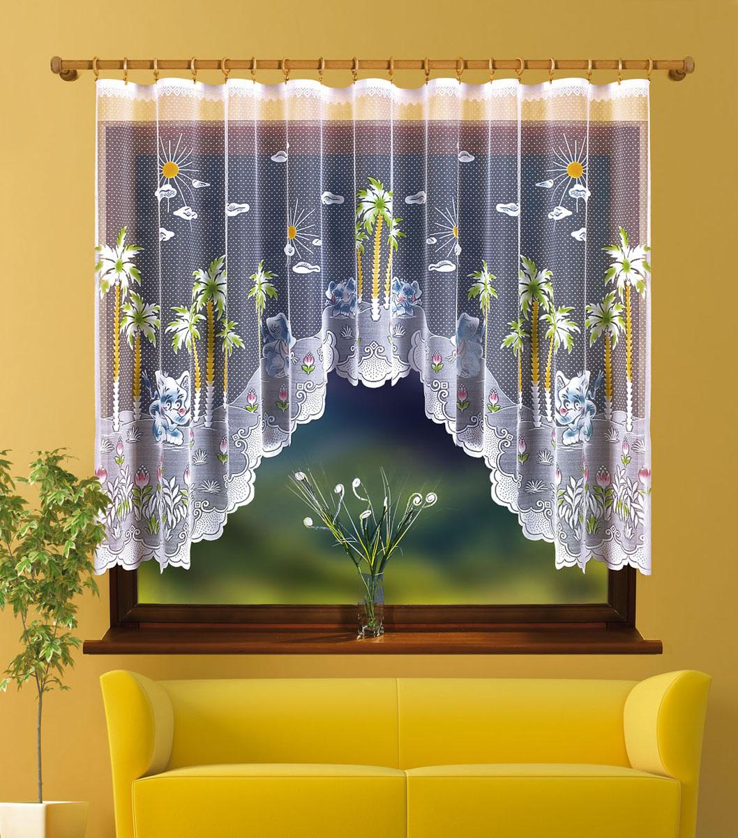 Гардина Wesole Sloniki, на ленте, цвет: белый, высота 150 см713196Оригинальная гардина Wesole Sloniki, изготовленная из полиэстера белого цвета, станет великолепным украшением любого окна. Необычный принт в виде пальм и слоников привлечет к себе внимание и органично впишется в интерьер комнаты. В гардину вшита шторная лента. Характеристики: Материал: 100% полиэстер. Цвет: белый. Размер упаковки: 35 см х 26 см х 3 см. Артикул: 713196. В комплект входит: Гардина - 1 шт. Размер (Ш х В): 300 см х 150 см. Фирма Wisan на польском рынке существует уже более пятидесяти лет и является одной из лучших польских фабрик по производству штор и тканей. Ассортимент фирмы представлен готовыми комплектами штор для гостиной, детской, кухни, а также текстилем для кухни (скатерти, салфетки, дорожки, кухонные занавески). Модельный ряд отличает оригинальный дизайн, высокое качество. Ассортимент продукции постоянно пополняется.