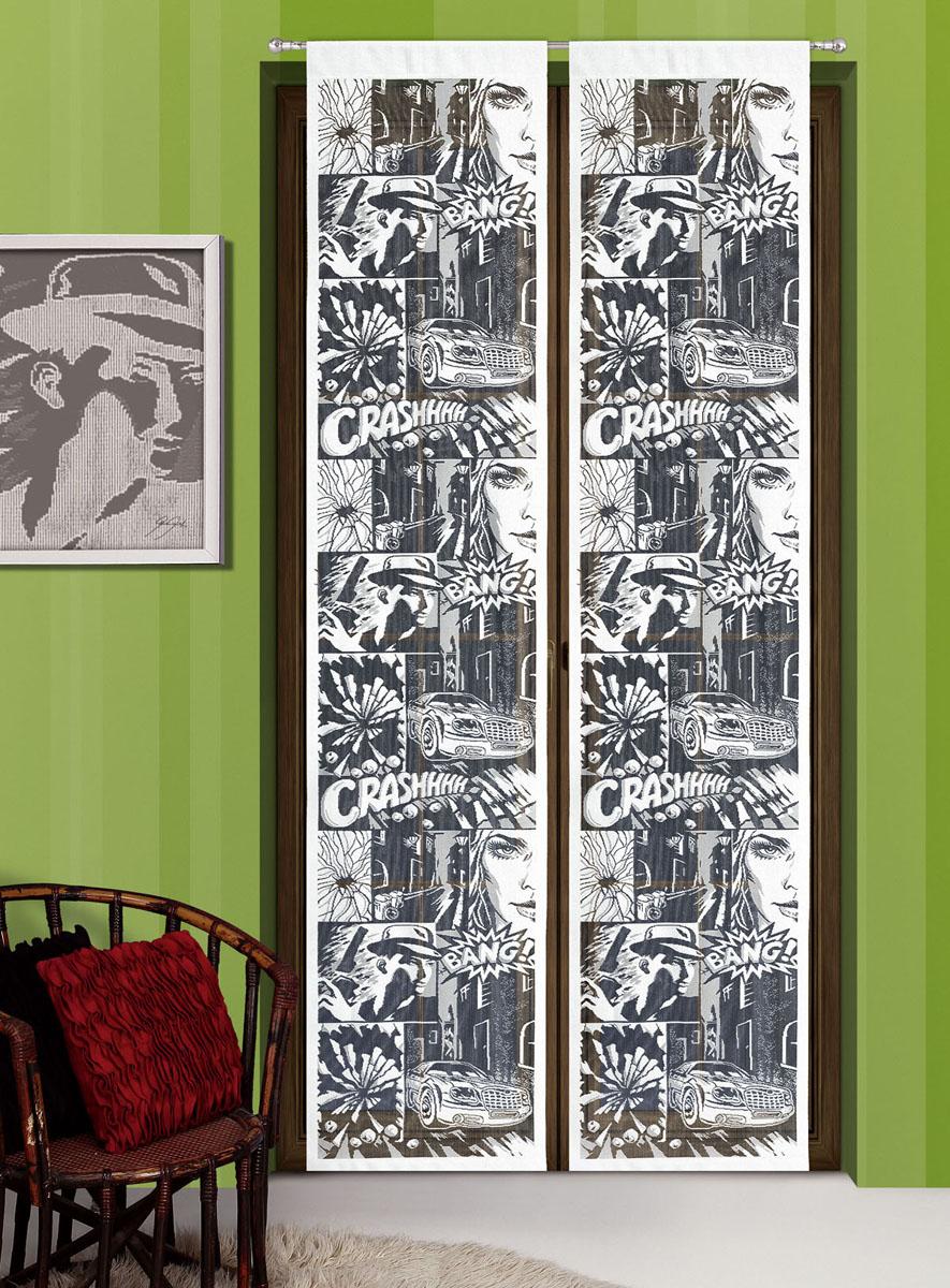 Гардина-панно Komiks, на кулиске, цвет: белый, черный, высота 240 см718672Воздушная гардина-панно Komiks, изготовленная из полиэстера, станет великолепным украшением любого окна. Оригинальный принт в виде комиксов и приятная цветовая гамма привлекут к себе внимание и органично впишутся в интерьер комнаты. Гардина оснащена кулиской для крепления на круглый карниз. Характеристики: Материал: 100% полиэстер. Размер упаковки: 27 см х 34 см х 2 см. Артикул: 718672. В комплект входит: Гардина-панно - 1 шт. Размер (Ш х В): 50 см х 240 см. Фирма Wisan на польском рынке существует уже более пятидесяти лет и является одной из лучших польских фабрик по производству штор и тканей. Ассортимент фирмы представлен готовыми комплектами штор для гостиной, детской, кухни, а также текстилем для кухни (скатерти, салфетки, дорожки, кухонные занавески). Модельный ряд отличает оригинальный дизайн, высокое качество. Ассортимент продукции постоянно пополняется.