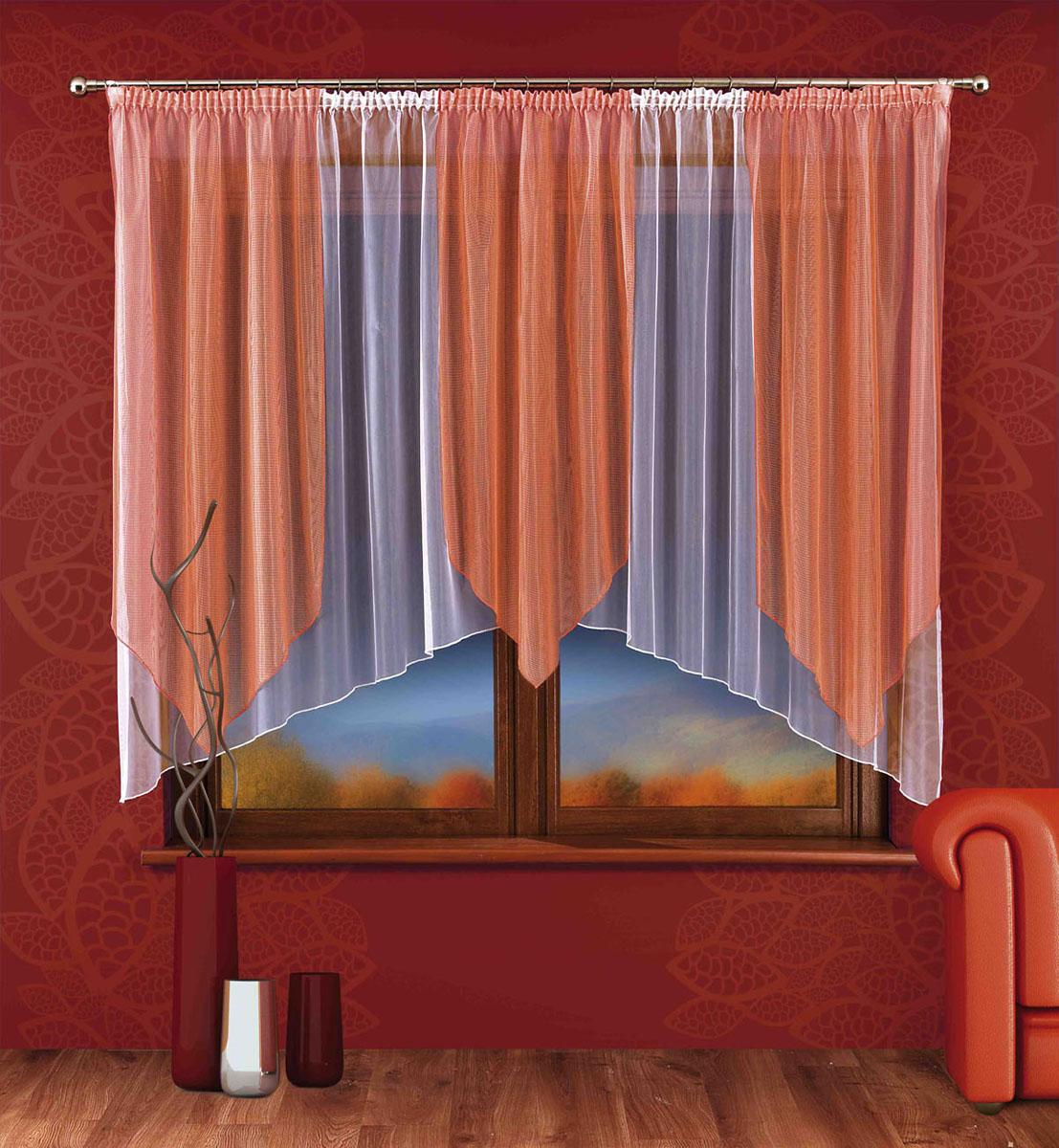 """Wisan Гардина """"Pamela"""", на ленте, цвет: белый, оранжевый, высота 170 см 745692"""