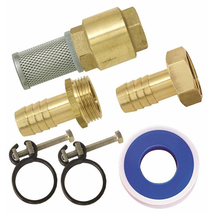 Набор фитингов для подключения насоса, 12850547Набор фитингов для подключения насоса состоит из клапана с фильтром 1, наконечника н/р, наконечника вн/р, фумленты, 2 хомутов. Характеристики: Материал: латунь, металлический фильтр. Размер: 6 см х 10 см х 18 см. Цвет: золотистый. Размер упаковки: 6 см х 10 см х 18 см.