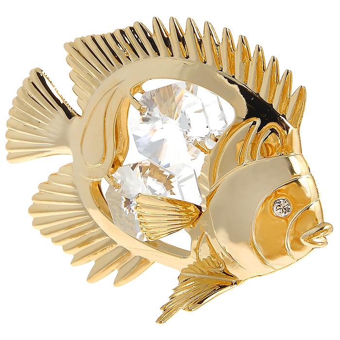 Фигурка декоративная Рыбка, цвет: золотистый. 692716UP210DFДекоративная фигурка Рыбка, золотистого цвета, станет необычным аксессуаром для вашего интерьера и создаст незабываемую атмосферу. Фигурка в виде золотистой рыбки инкрустирована белыми кристаллами. Кристаллы, украшающие фигурку, носят громкое имяSwarovski. Ограненные, как бриллианты, кристаллы блистают сотнями тысяч различных оттенков.Эта очаровательная фигурка послужит отличным функциональным подарком, а также подарит приятные мгновения и окунет вас в лучшие воспоминания.Фигурка упакована в подарочную коробку. Характеристики:Материал: металл, австрийские кристаллы. Размер фигурки: 6,3 см х 5 см х 3,5 см. Цвет: золотистый. Размер упаковки: 6 см х 9 см х 4,5 см. Артикул: 692716.