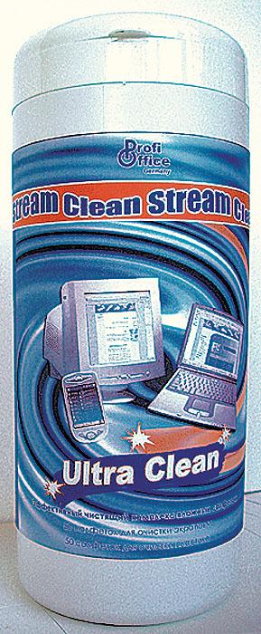 Влажные чистящие салфетки ProfiOffice Clean-Stream, для экранов и мониторов, 100 штHB-1Чистящий комплекс Ultra Clean предназначен для удаления грязи с экранов ЖК- мониторов, оптических поверхностей, сканеров, копиров, телевизоров, а также для очистки корпусов мониторов, клавиатур и других пластиковых поверхностей техники. Салфетки обладают антистатическим, дезинфицирующим и антибактериальным эффектом.В пластиковой тубе размещаются:50 салфеток (синего цвета) предназначенных для очистки пластиковых поверхностей мониторов, клавиатур, мыши и рабочей поверхности стола.50 салфеток (белого цвета) предназначены для деликатной очистки экранов мониторов. Характеристики: Размер тубы: 8 см х 8 см х 19 см. Количество салфеток: 100 шт. Изготовитель: Россия. Артикул: 19826.