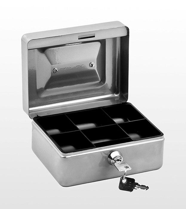 Кэшбокс Office-Force Т38, цвет: серебряный. 10038UP210DFКэшбокс Office-Force Т38 - это практичный и надежный ящик для хранения денег и мелких предметов с ключевым замком.Корпус кэшбокса окрашен методом напыления краски. Для удобства транспортировки предусмотрена ручка. Внутри кэшбокса расположен пластиковый съемный ложемент, разделенный на ячейки различного объема, что позволяет рассортировать и систематизировать монеты и купюры. На верхней стороне кэшбокса расположена прорезь, которая позволяет опускать в него монеты, не открывая основное отделение. Компактные размеры позволят разместить кэшбокс даже на рабочем столе.В комплект также входят 2 ключа. Кэшбокс станет надежным хранилищем для денежных купюр, ценных бумаг и мелочей.