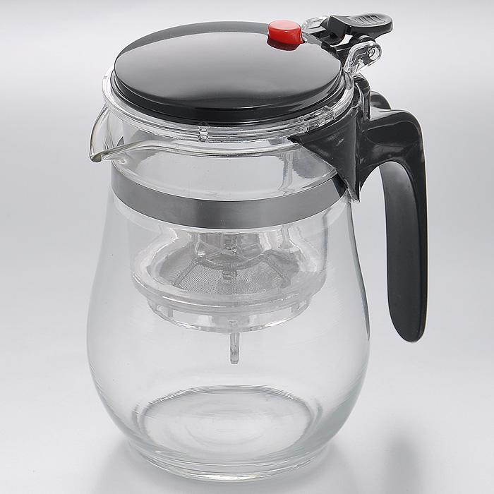 Чайник заварочный Mayer & Boch, с клапаном, цвет: черный, 0,5 л. MB4025MB4025Заварочный чайник Mayer & Boch, выполненный из высококачественного стекла, практичный и простой в использовании. Съемный фильтр чайника оснащен водозапорным пластиковым клапаном, а в крышке имеется кнопка клапана. Пока кнопку клапана не нажимаете, чай не вытекает из фильтра, тем самым вы регулируете крепость напитка, его вкус и аромат. Современный дизайн полностью соответствует последним модным тенденциям в создании предметов бытовой техники. Характеристики: Материал: нержавеющая сталь, стекло, пластик. Объем: 0,5 л. Высота (с учетом крышки): 14 см. Диаметр колбы по верхнему краю: 8,5 см. Высота стенки колбы: 12 см. Размер фильтра: 8 см х 8 см х 9,5 см. Артикул: MB4025.