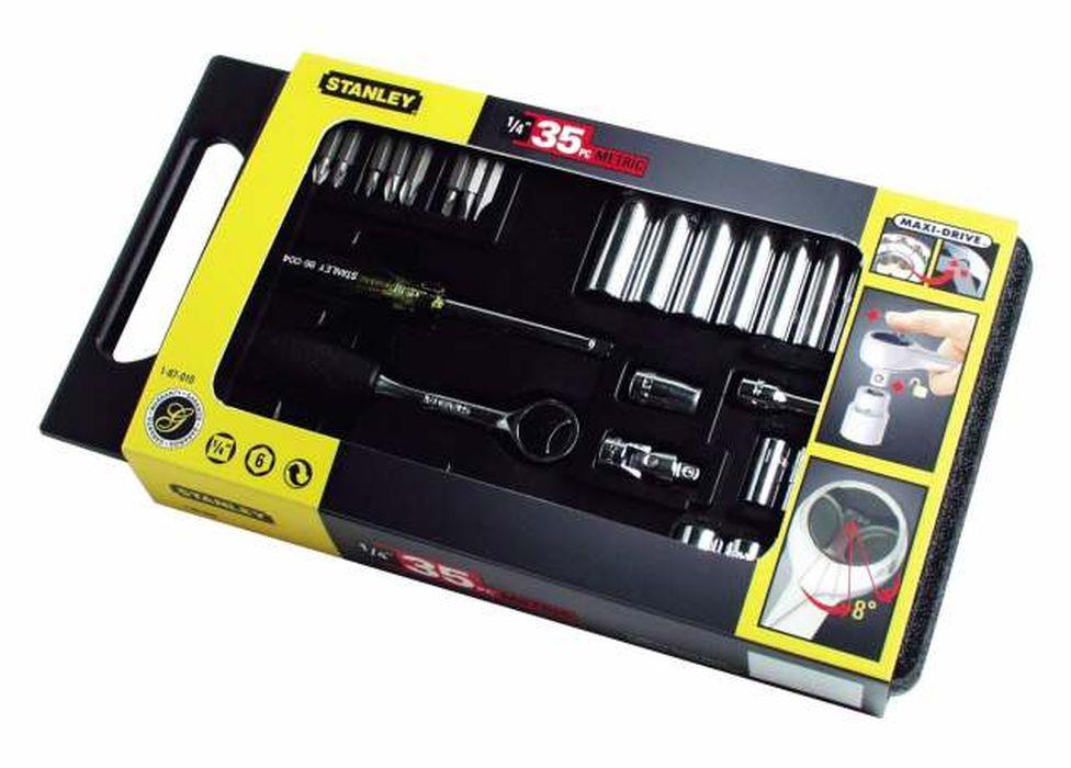Набор Stanley, 1/4, 35 предметовSC-FD421005Набор Stanley предназначен для монтажа и демонтажа резьбовых соединений.Это необходимый предмет в каждом доме, набор станет незаменимым в Вашем хозяйстве.В состав набора входит:Трещотка, 150 ммШарнир карданный2 удлинителя: 75 мм, 150 мм.Рукоятка 1/4Адаптер для вставок с шестигранным хвостовиком 1/4Биты плоские: 4 мм, 5,5 мм, 6,5 ммБиты крестовые: PH1, PH2, PH3, PZ1, PZ2Головки: 4 мм, 5 мм, 6 мм, 7 мм, 8 мм, 9 мм, 10 мм, 11 мм, 12 мм, 13 мм.Головки удлиненные: 4 мм, 5 мм, 6 мм, 7 мм, 8 мм, 9 мм, 10 мм, 11 мм, 12 мм, 13 мм.Кейс для хранения. Характеристики: Материал: пластик, хром-ванадий. Длина трещотки: 15 см. Длина удлинителей: 7,5 см, 15 см. Размеры кейса:34 см х 19 см х 5 см. Размеры упаковки:34 см х 19 см х 5 см.