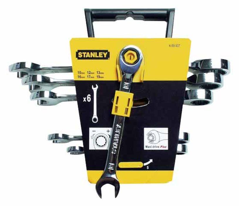 Набор комбинированных ключей Stanley с трещоткой, 6 шт4-89-907Набор комбинированных ключей Stanley с трещоткой используется для закручивания и откручивания болтового соединения. Ключи изготовлены из хром-ванадиевой стали , которая отличается высокой прочностью. На одном конце ключа расположен открытый зев, на другом - кольцевая часть с двенадцатигранником, в которой расположен храповой механизм. Шаг храповика 5°. В состав набора входят ключи на 10 мм, 12 мм, 13 мм, 16 мм, 17 мм, 19 мм. Характеристики: Материал: металл. Количество в упаковке: 6 шт. Размер упаковки: 21 см х 25 см х 6 см.