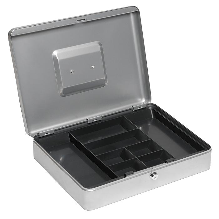 Кэшбокс Office-Force Т01, цвет: серебро96515412Вашему вниманию предлагается металлический ящик для хранения денег и мелких предметов с ключевым замком. Контейнер покрашен методом напыления краски в серебряный цвет.В комплект входят 2 ключа. Внутри пластиковый лоток для мелочи. Для удобства транспортировки предусмотрена никелированная ручка. Характеристики:Материал: металл, пластик. Цвет: серебро. Размер кэшбокса: 37 см х 28 см х 9 см. Изготовитель: Китай.