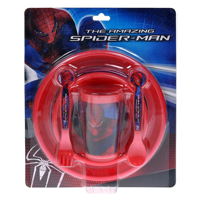 Набор детской посуды Stor Человек-Паук, цвет: красный, 5 предметов794003Набор детской посуды Stor Человек-Паук состоит из стакана, миски, тарелки, ложки и вилки. Посуда, выполненная из пищевого пластика красного цвета, оформлена изображением знаменитого Человека-паука.Ручки приборов удобны для маленьких детских пальчиков, они не выскальзывают. Наклон вилки позволяет легко накалывать на нее еду. Объем ложечки оптимален, ею легко вычерпывать и класть в рот еду. Самостоятельное использование приборов малышом способствует развитию мелкой моторики рук. Ваш малыш с удовольствием будет кушать вместе с любимым героем. Характеристики:Размер тарелки: 22 см х 22 см х 1,5 см. Размер миски: 15 см х 15 см х 3 см. Длина приборов: 16 см. Высота стакана: 11 см. Размер упаковки: 26 см x 32 см x 7 см. Изготовитель: Китай.