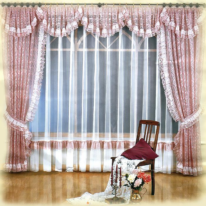 Комплект штор Melania, на ленте, цвет: белый, розовый, высота 250 см724147Комплект штор Melania великолепно украсит любое окно. Комплект состоит из двух штор, тюли и ламбрекена. Для более изящного расположения штор прилагаются подхваты. Шторы и ламбрекен, изготовленные из легкого полиэстера розового цвета с кружевными узорами, по краям оформлены рюшами. Тюль выполнен из полиэстера белого цвета и снизу оформлен сборками. Тонкое плетение, оригинальный дизайн и нежная цветовая гамма привлекут к себе внимание и органично впишутся в интерьер комнаты. Все предметы комплекта - на шторной ленте для собирания в сборки. Характеристики: Материал: 100% полиэстер. Цвет: белый, розовый. Размер упаковки: 31 см х 40 см х 15 см. Артикул: 724147. В комплект входит: Штора - 2 шт. Размер (ШхВ): 150 см х 250 см. Тюль - 1 шт. Размер (ШхВ): 500 см х 250 см. Ламбрекен - 1 шт. Размер (ШхВ): 500 см х 50 см. Подхват - 2 шт. Фирма Wisan на польском рынке существует уже более пятидесяти лет и является одной из...