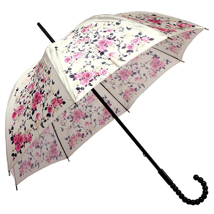 Зонт-трость женский Eleganzza, механический, цвет: молочный. Т-06-0419 19/0545100948B/32793/5900NСтильный зонт-трость Eleganzza даже в ненастную погоду позволит вам оставаться элегантной. Каркас зонта выполнен из 8 спиц из фибергласса, стержень изготовлен из дерева. Купол зонта выполненный из прочного полиэстера с водоотталкивающей пропиткой молочного цвета и оформлен цветочным принтом. Рукоятка закругленной формы разработана с учетом требований эргономики и выполнена из акрила в виде крупных бусин. Зонт механического сложения: купол открывается и закрывается вручную до характерного щелчка. Такой зонт не только надежно защитит вас от дождя, но и станет стильным аксессуаром. Характеристики:Материал: 100% полиэстер, фибергласс, дерево, акрил. Диаметр купола: 90 см. Цвет: молочный. Длина стержня зонта: 78 см. Размер зонта (в сложенном виде): 91 см. Производитель: Италия. Изготовитель: Китай. Артикул: Т-06-0419 19/05.