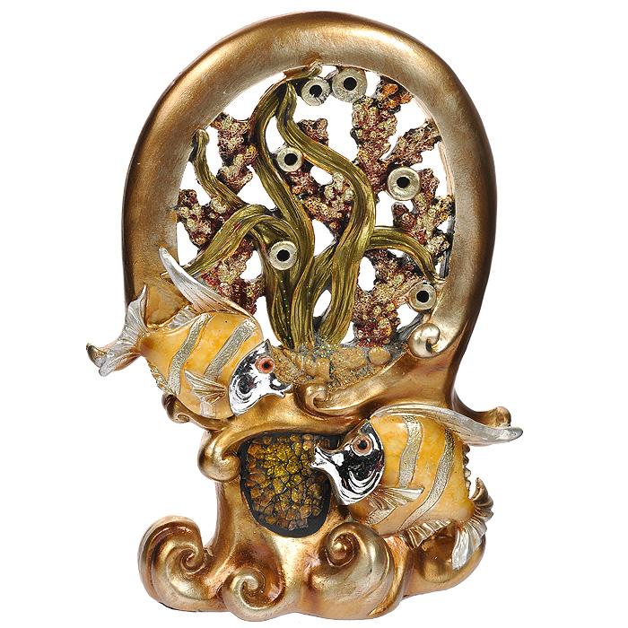 Декоративная композиция Perfecto Рыбки, 25 смES-412Декоративная композиция Рыбки, изготовленная из полистоуна, станет отличным украшением интерьера вашего дома или офиса. Вы можете поставить композицию в любом месте, где она будет удачно смотреться, и радовать глаз. Также она может стать оригинальным подарком для всех любителей стильных вещей. Характеристики:Материал: полистоун, стекло. Размер фигурки (ДхШхВ): 18 см х 6 см х 25 см. Размер упаковки: 22 см х 8 см х 28 см. Артикул: XL-2363.