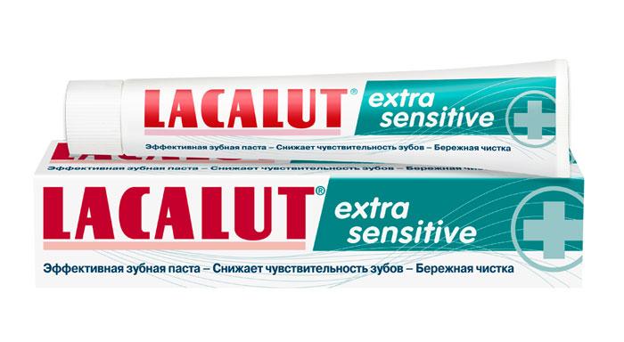 Lacalut Зубная паста Extra Sensitive, 50 мл1598004802Зубная паста Lacalut Extra Sensitive - cверхмощное действие при гиперчувствительности зубов. За счет ацетата стронция запечатывает открытые дентинные канальцы, препятствуя воздействию раздражителей. За счет хлорида калия блокирует проведение болевых нервных импульсов. Интенсивно и атравматично реминерализует эмаль зубов. Моментально блокирует возникновение болезненных ощущений. Характеристики: Объем: 50 мл. Артикул: 666040. Производитель: Германия. Товар сертифицирован.